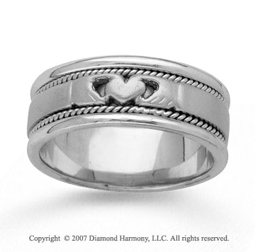 14kWhite Gold Heart Rope Hand Carved Wedding Band