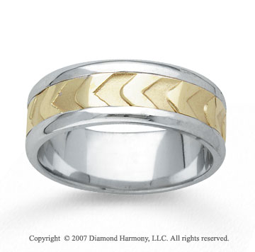 14k Two Tone Gold Modern Fashion Hand Carved Wedding Band