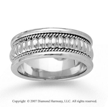 14k White Gold Eternity Style Hand Carved Wedding Band