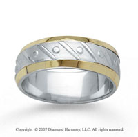 14k Two Tone Gold Fine Harmony Hand Carved Wedding Band