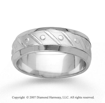 14k White Gold Fine Harmony Hand Carved Wedding Band