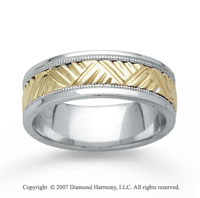 14k Two Tone Gold Fashion Milgrain Hand Carved Wedding Band