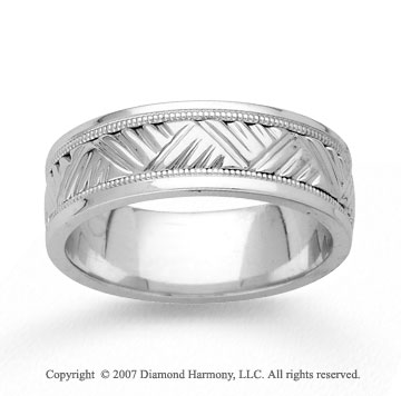 14k White Gold Fashion Hand Carved Wedding Band