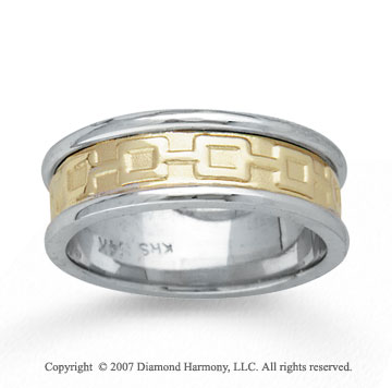 14k Two Tone Gold Fine Deco Hand Carved Wedding Band