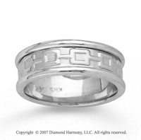 14k White Gold Finest Deco Hand Carved Wedding Band