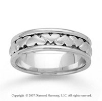 14k White Gold Pure Love Fine Hand Carved Wedding Band