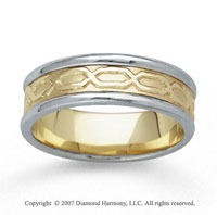 14k Two Tone Gold Classical Hand Carved Wedding Band