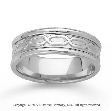 14k White Gold Classical Fine Hand Carved Wedding Band