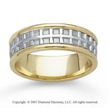 14k Two Tone Gold Always Stylish Hand Carved Wedding Band