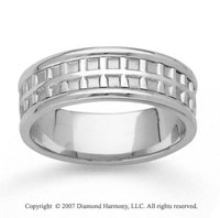 14k White Gold Always Stylish Hand Carved Wedding Band