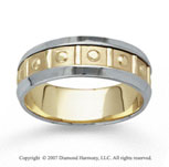 14k Two Tone Gold Great Love Hand Carved Wedding Band
