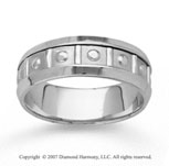 14k White Gold Great Love Hand Carved Wedding Band
