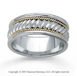 14k Two Tone Gold Great Style Hand Carved Wedding Band