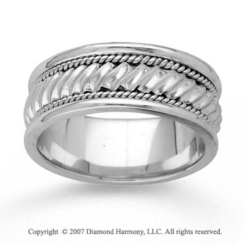 14k White Gold Great Style Hand Carved Wedding Band