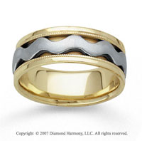 14k Two Tone Gold Smooth Wave Hand Carved Wedding Band
