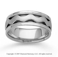 14k White Gold Smooth Wave Hand Carved Wedding Band
