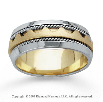 14k Two Tone Gold Great Fashion Hand Carved Wedding Band