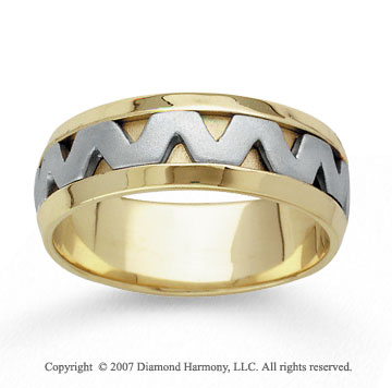 14k Two Tone Gold Fine Zigzag Hand Carved Wedding Band