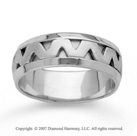 14k White Gold Fine Zigzag Hand Carved Wedding Band