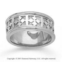 14k White Gold Elegant Pattern Hand Carved Wedding Band