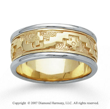 14k Two Tone Gold Stylish Cross Hand Carved Wedding Band