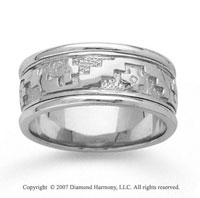 14k White Gold Stylish Cross Hand Carved Wedding Band