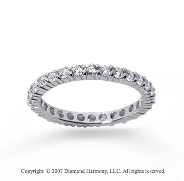 1 Carat Diamond 14k White Gold Round Eternity Band