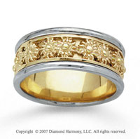 14k Two Tone Gold Sunburst Hand Carved Wedding Band