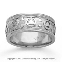 14k White Gold Circle Triangle Hand Carved Wedding Band