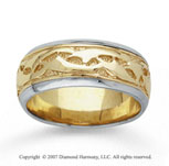 14k Two Tone Gold Eternity Hand Carved Wedding Band