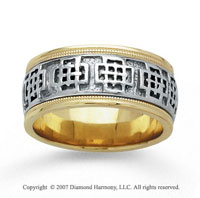 14k Two Tone Gold Grand Milgrain Hand Carved Wedding Band