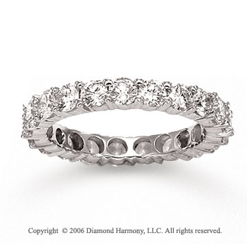 14k White Gold Round Prong 2.00 Carat Diamond Eternity Ring