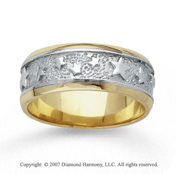 14k Two Tone Gold Grand Stars Hand Carved Wedding Band