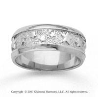 14k White Gold Grand Stars Hand Carved Wedding Band