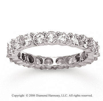 14k White Gold Round Prong 2 1/2 Carat Diamond Eternity Ring