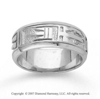 14k White Gold Great Mark Hand Carved Wedding Band