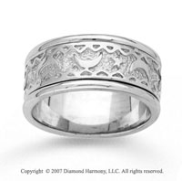 14k White Gold Moon Star Fine Hand Carved Wedding Band