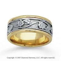 14k Two Tone Gold Stylish Floral Hand Carved Wedding Band