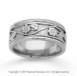 14k White Gold Stylish Floral Hand Carved Wedding Band