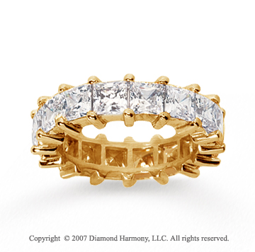 6 1/2 Carat Diamond 18k Yellow Gold Princess Eternity Band