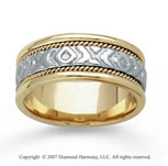 14k Two Tone Gold Fashion Braided Hand Carved Wedding Band
