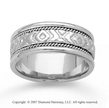 14k White Gold Fashion Rope Hand Carved Wedding Band