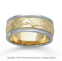 14k Two Tone Gold Dolphin Hand Carved Wedding Band