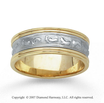 14k Two Tone Gold Classic Love Hand Carved Wedding Band