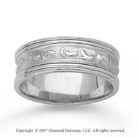14k White Gold Classic Love Hand Carved Wedding Band