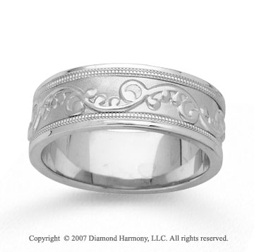 14k White Gold True Elegance Hand Carved Wedding Band