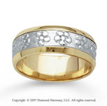 14k Two Tone Gold Flower Style Hand Carved Wedding Band