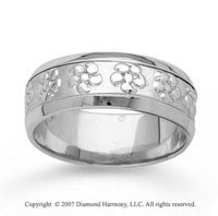 14k White Gold Flower Style Hand Carved Wedding Band
