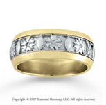 14k Two Tone Gold Class Elegance Hand Carved Wedding Band