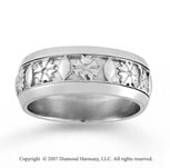 14k White Gold Class Elegance Hand Carved Wedding Band